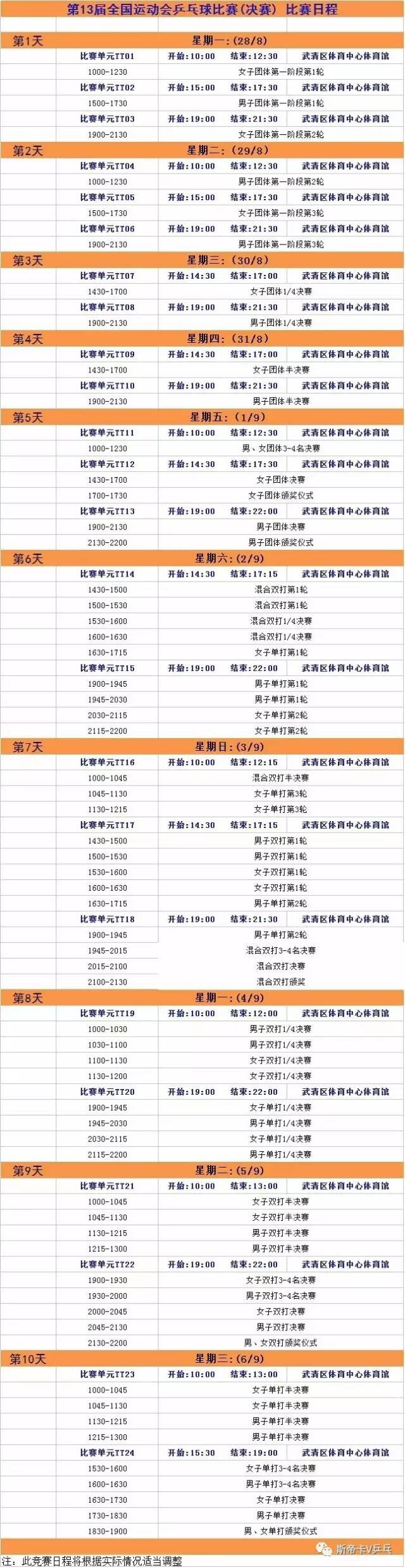 天津全运会,乒乓球比赛,视频地址,2017天津全运会,乒乓球时间表