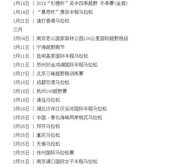 2018国内马拉松时间表、2018年中国马拉松列表一览【全】