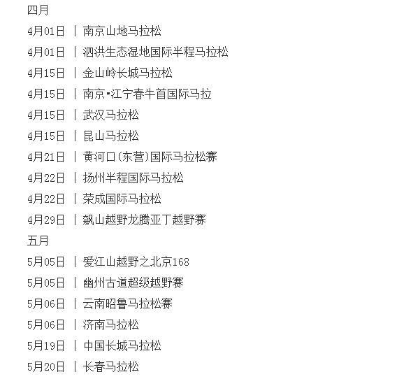 2018全国马拉松时间表, 2018年中国马拉松,马拉松