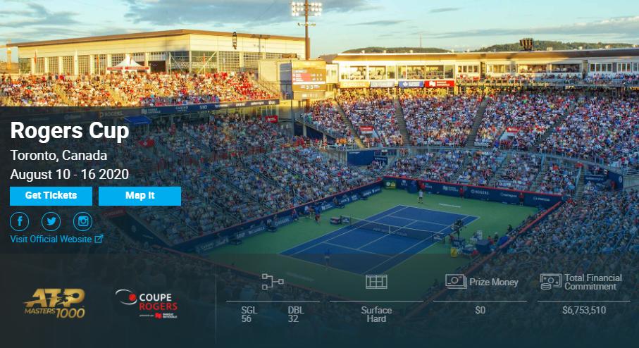 2020罗杰斯杯网球赛直播安排、比赛时间和赛程